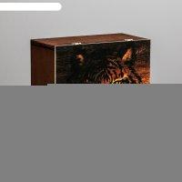 Ящик деревянный подарочный «тигр», 20 x 20 x 10  см