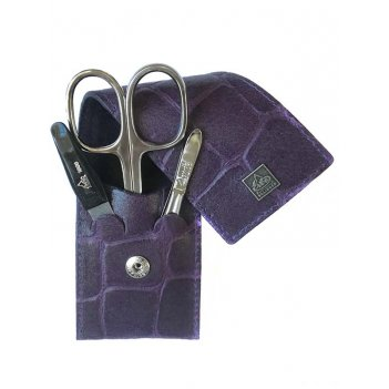 Маникюрный набор erbe, 3пр. футляр: натур.кожа, цвет фиолетовый