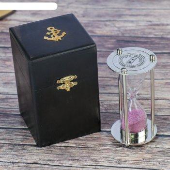 Сувенирные песочные часы в тёмной шкатулке (3 мин) рельеф