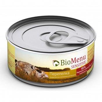 Влажный корм biomenu sensitive для кошек, мясной паштет с перепелкой 95%-м