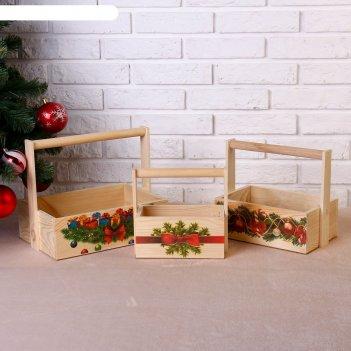 Набор кашпо новогодний №2 3 в 1, из массива сосны, деревянная ручка, натур