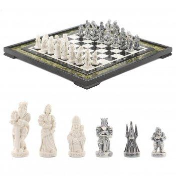 Шахматы средневековье змеевик мрамор 480х480 мм