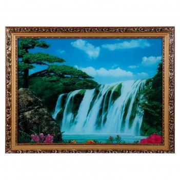 Световая картина большой водопад со звуком пения птиц и водопада
