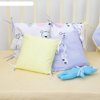 Комплект в круглую кроватку конфетти, цв голубой, сатин хл100, пэ100 200гм