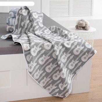 Одеяло детское «крошка я» гитара 140x200 цвет серый, жаккард, 100% хлопок