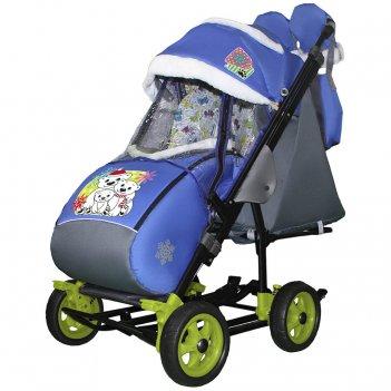 Санки-коляска snow galaxy city-3-1 три медведя на синем на больших колёсах