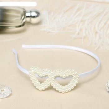 Ободок для волос бланш 0,5 см, сердечки, белый