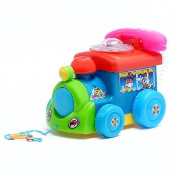 Каталка «паровоз с телефоном» на верёвке