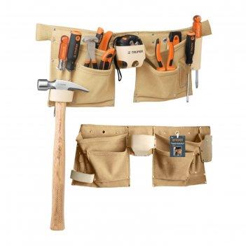 Поясная сумка для инструмента truper poca-13, кожа 1.8 мм, 13 отделений, 4