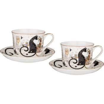 Набор из 2-х чайных пар lefard парижские коты 500 мл
