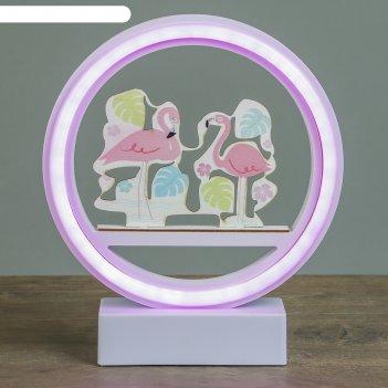 Ночник фламинго в круге от 3ааа диодная лента микс 20х17,5х4,5 см