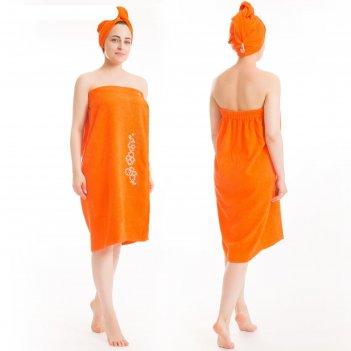 Набор д/сауны махр. жен. арт:нсмж-6 (килт(юбка)(80х150+-2)+ чалма) оранж,