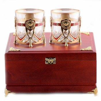 Бокалы для виски ссср 2 шт  в деревянной шкатулке