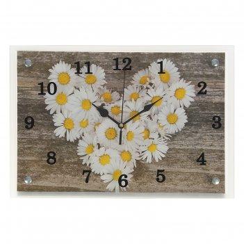 Часы настенные, серия: цветы, ромашки в форме сердца25х35 см, микс