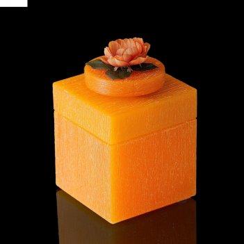 Музыкальная шкатулка цветы оранж, квадратная, аромат апельсина
