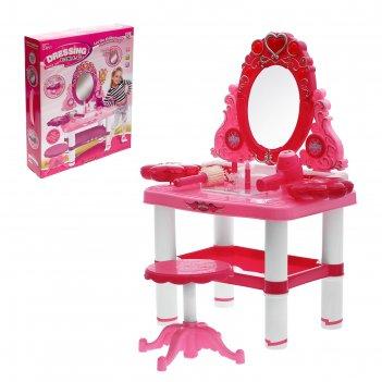 Игровой набор модница: столик с зеркалом, стульчик, волшебная палочка, фен
