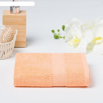 Полотенце махровое гладкокрашенное эконом 70х130 см, персиковый, хлопок 10