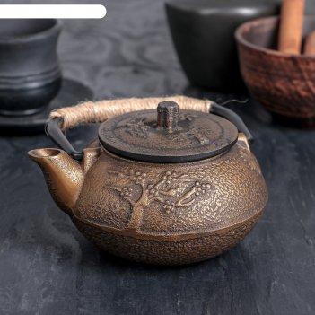 Чайник с ситом 300 мл долголетие. золото. этно, цвет черный