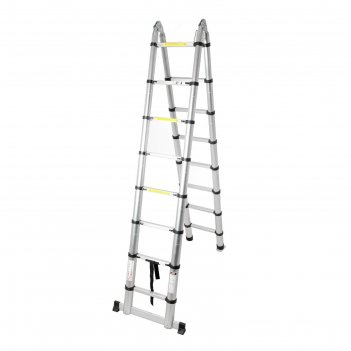 Лестница алюминиевая телескопическая шарнирная tundra premium 2,5 х 2,5 ме