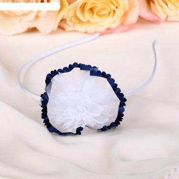 Ободок для волос школьница 1,4 см бант синий кант