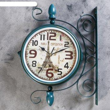 Часы настенные двойные, серия: садовые, оливия, 28х8.5х35 см
