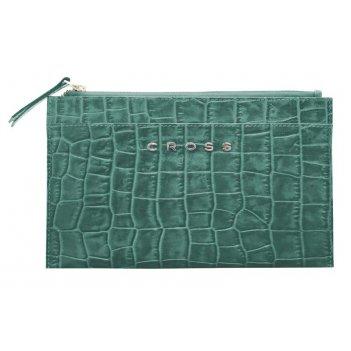 Клатч мини cross bebe coco, кожа наппа фактурная, цвет зелёный/рыжий, 21 х