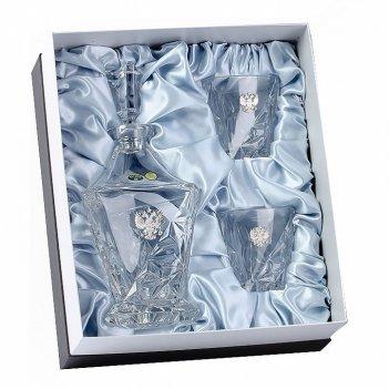 Штоф eskymos и два бокала для виски, накладка герб серебро ч/х