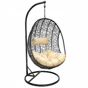 Подвесное кресло leset leo black ми, каркас чёрный, подушка кофейная