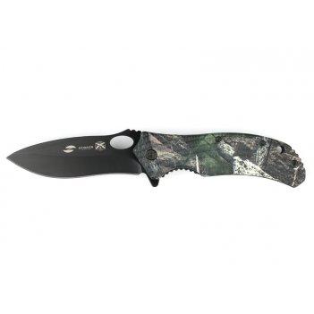 Нож складной stinger, 91 мм (чёрный), рукоять: пластик (камуфляж), картонн