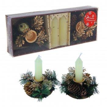 Подсвечники со свечами золотые веточки (набор 2 шт.) микс