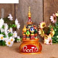 Сувенир-шкатулка музыкальная храм, 17х10 см, красная