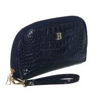 Косметичка п/овал, l-к211, 23*4*15см, 4отд, н/карман, с ручкой, синий