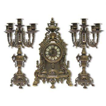 Набор часы, 2 подсвечника «барокко» античные