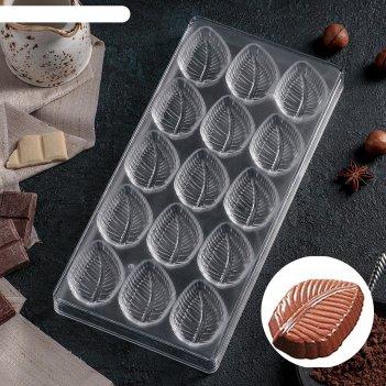 Форма для шоколада 27,5x13,5 см листва, 15 ячеек