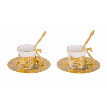 Набор кофейный лебеди ( 2 чашечки, 2 блюдца d110, 2 ложечки )