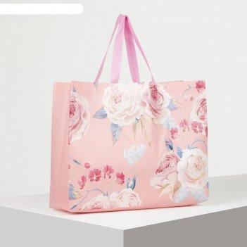 Сумка хоз розы, 43*10*32см, отдел без молнии, фон розовый