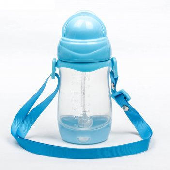 Поильник детский с трубочкой, на ремешке, 240 мл, от 5 мес., цвет голубой