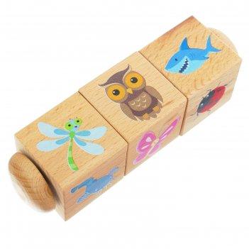 Кубики деревянные на оси живая природа 3 кубика