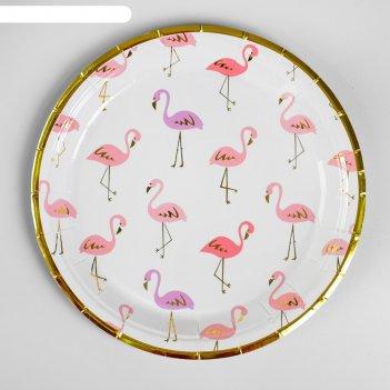 Тарелка бумажная «фламинго» с теснением, набор 6 шт.