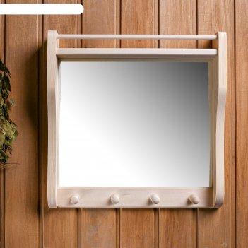 Полка с зеркалом и 3 крючками, большая