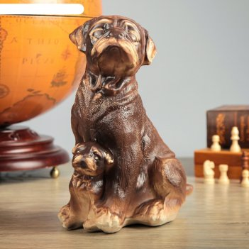 Фигура садовая собака мопс мама, шамот