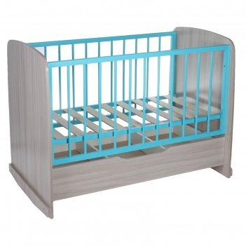 Кроватка сашенька, цвет ясень шимо светлый-голубой