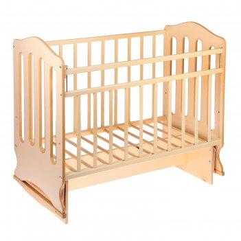 Детская кроватка «чудо» на качалке с поперечным маятником, цвет бежевый/сл