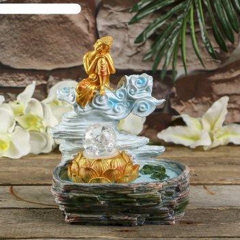 Фонтан полистоун подсветка+курительница золотой будда от 220в 25,5х20,5х17