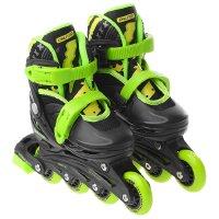 Роликовые коньки раздвижные, колеса pvc 64 мм, пластиковая рама, black/gre