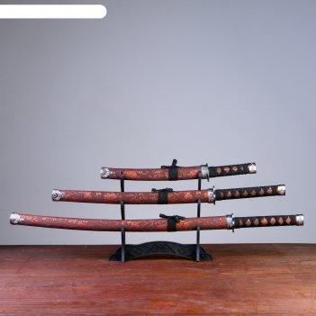 Катаны сувенирные 3в1 на подставке, коричневые ножны, узор тигр