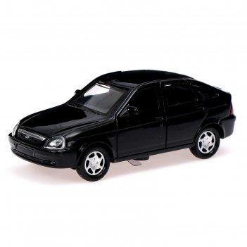 Машина металлическая lada priora, открываются двери, инерция, цвет чёрный