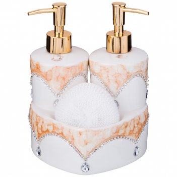 Набор для ванной комнаты:дозатор для жидкого мыла+подставка для губки+губк