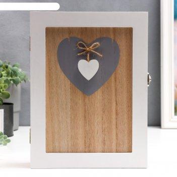 Ключница дерево 6 крючков дом и сердце 26х19,5х6 см