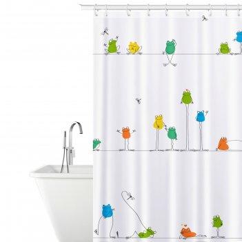 Штора для ванной funny frogs peva